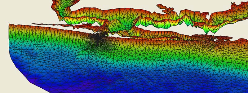 3-D Bathymetric Survey and Model Domain
